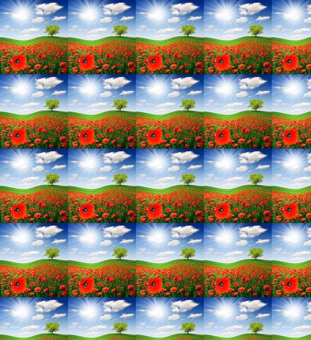 Vinylová Tapeta Jarní strom s červeným makovém poli - Zemědělství