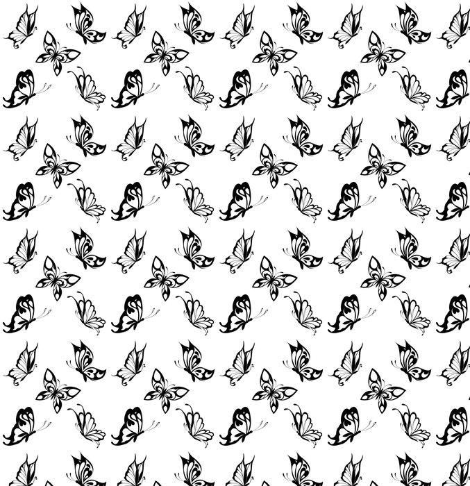 Vinylová Tapeta Nastavit černá bílá motýly tetování - Témata