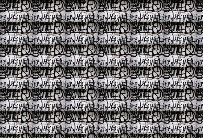 Vinylová Tapeta Černé graffiti nastříká na dveřním vandalismu - Umění a tvorba