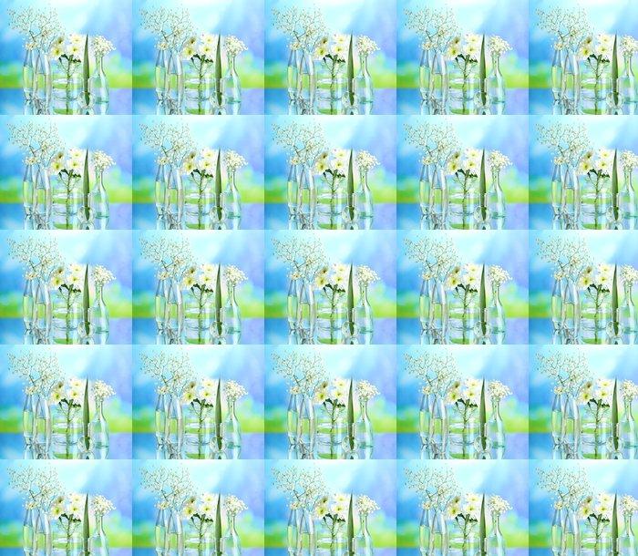 Vinylová Tapeta Rostliny v různých skleněných nádob na přírodní pozadí - Květiny