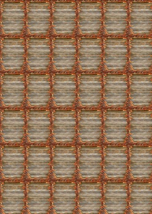 Vinylová Tapeta Dřevěná prkna pozadí textury s rámování cihlové zdi - Těžký průmysl