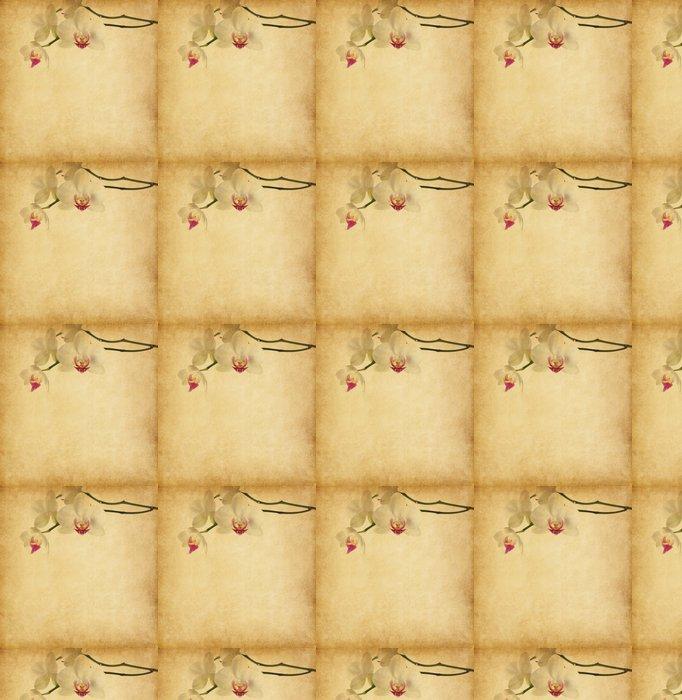 Vinylová Tapeta Starý papír textury s orchidejí. - Květiny