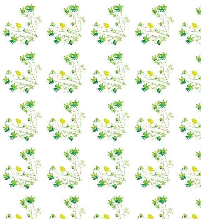 Vinylová Tapeta Petit oiseau sur obor avec feuilles vert sur fond blanc - Ptáci