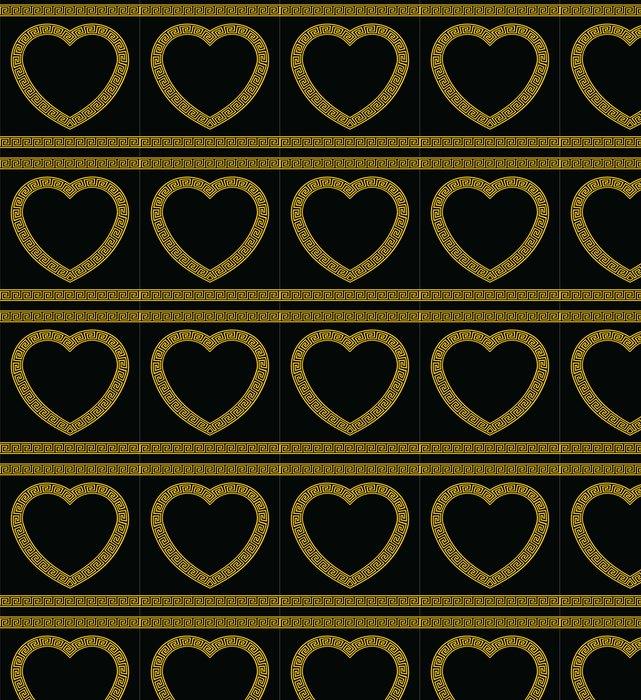 Vinylová Tapeta Řecký Key Pattern Border tvaru srdce - Štěstí