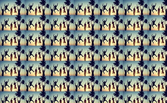 Vinylová Tapeta Siluety mladých lidí, skákání s vzrušení - Skupiny a dav