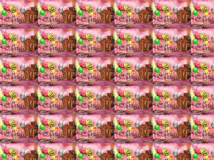Vinyltapet Kolorowy krajobraz z domkiem z piernika, lizakami i czekoladkami - Destinations