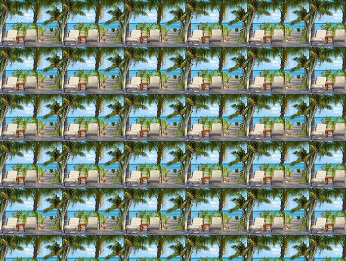 Vinylová Tapeta Dvě patrové postele na pobřeží v blízkosti palmami .. - Prázdniny