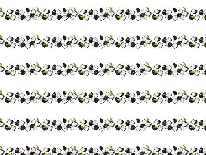Vinylová Tapeta Ostružiny s kostkami ledu, izolovaných na bílém pozadí - Ovoce