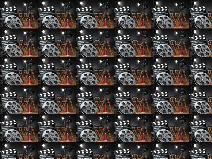 Vinylová Tapeta Video, film, kino koncepce. Retro fotoaparát, navijáky, klapka - Témata
