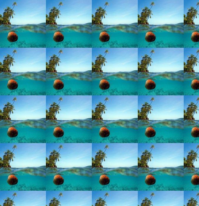 Vinylová Tapeta Kokos závěje na vodní hladině a kokosové palmy - Amerika
