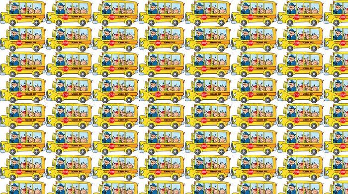 Vinylová Tapeta Šťastné děti na školní autobus - Nálepka na stěny