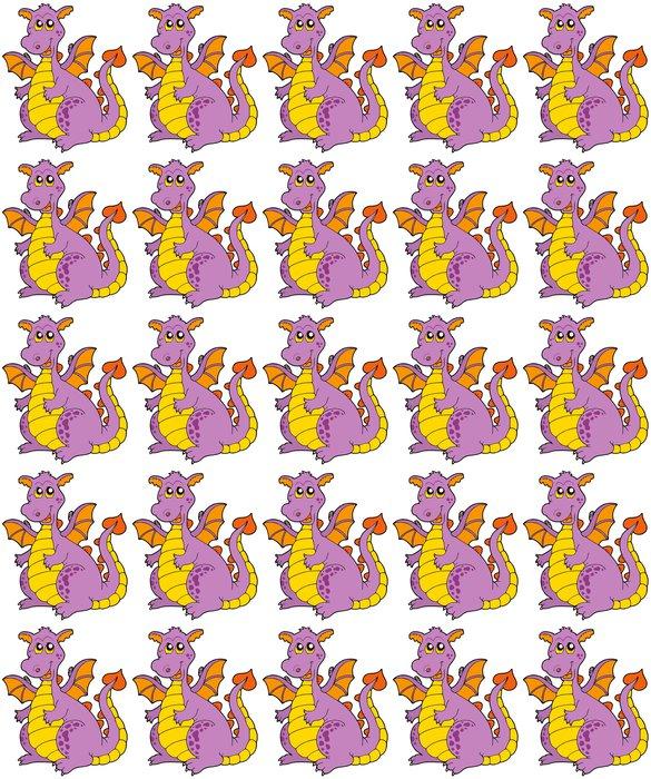 Vinylová Tapeta Big purple dragon - Nálepka na stěny