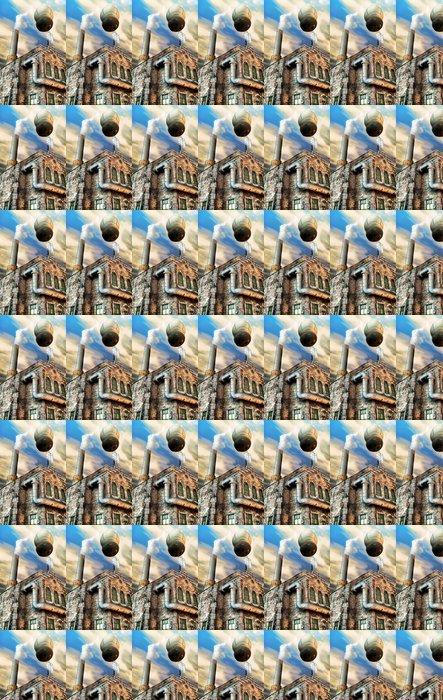 Vinylová Tapeta Steampunk továrně a horký vzduch balónem - Steampunk
