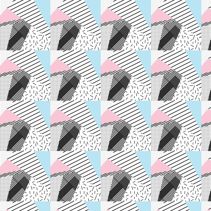Vinyltapete Memphis Farbblöcke und Streifen Elemente Hintergrund Design -
