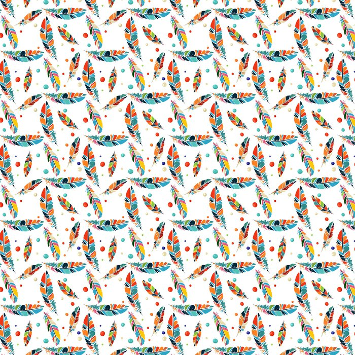 Watercolor Beads And Feathers Pattern Vinyl Wallpaper