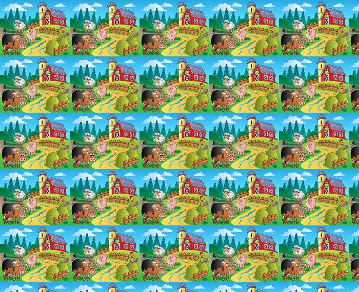 Vinylová Tapeta Země scéna s stodoly červeným 1 - Pro předškolačku