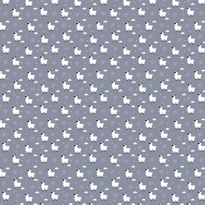Papel Pintado Polca sin costura patrón de puntos con alpaca y nubes ...