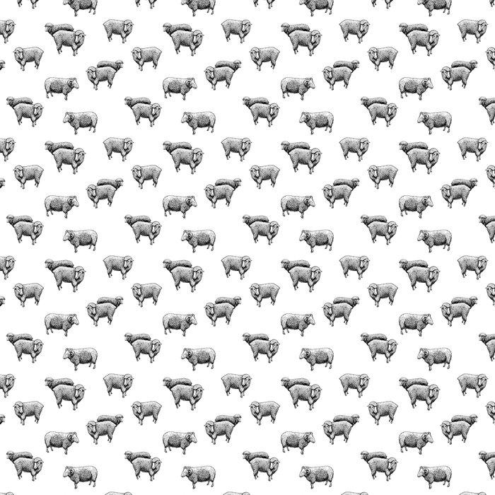 Pattern With Sheep Vinyl Wallpaper