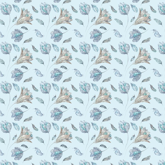 Feather Flowers Watercolor Pattern Vinyl Wallpaper