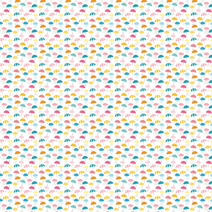 Cute And Colorful Vector Umbrella Seamless Pattern With Clouds Rain For Kids Clothing Paper