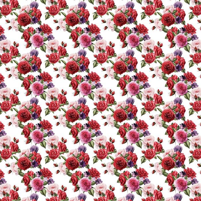 Vinylová Tapeta Bezešvé květinové vzory s růží, akvarel. - Rostliny a květiny