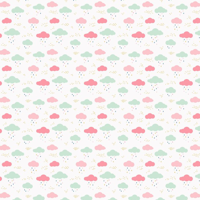 Vector Kids Pattern With Clouds Rain Drops And Dots Cute Scandinavian Seamless Background In