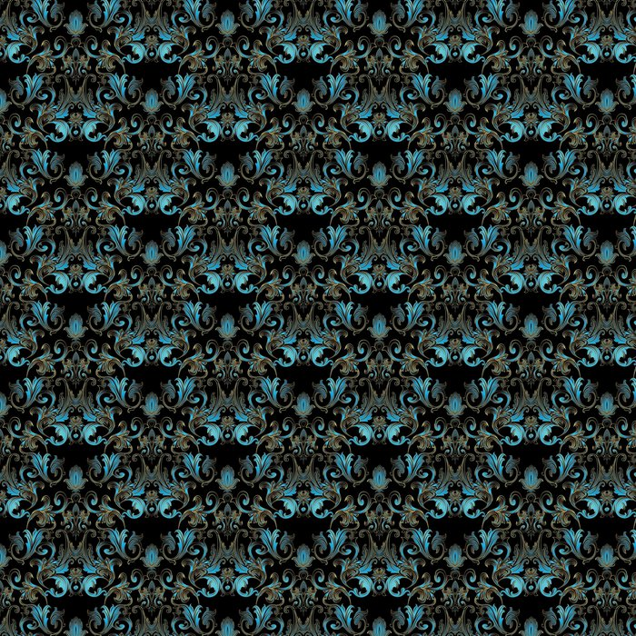 Baroque Damask Floral Seamless Pattern Black Vector Background Wallpaper Illustration With Vintage Blue Flowers