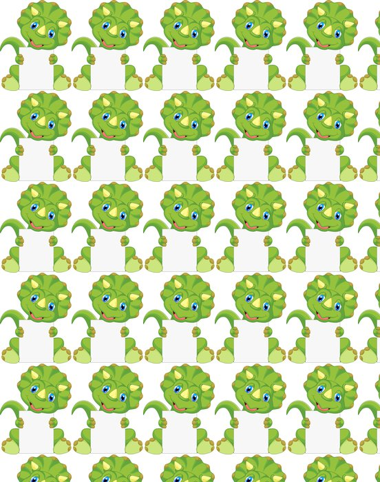 Cute dinosaur cartoon holding blank sign Vinyl Wallpaper - Other Other