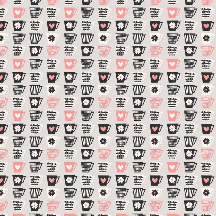 Vinylová Tapeta Seamless Šálky na kávu vzor - Pití