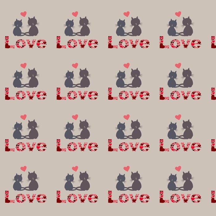 Vinylová Tapeta Cat love - Savci