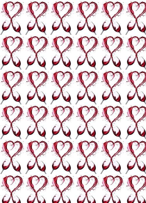 Vinylová Tapeta Romantický Toast Of vínová V stříkající srdce Shape__ - Pití