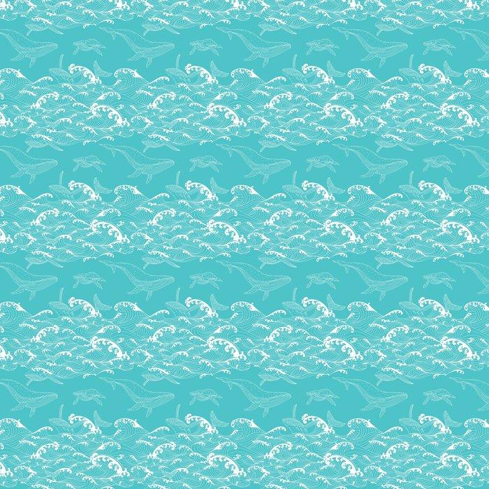 Papel Pintado Familia de la ballena nadando en las olas del océano ...