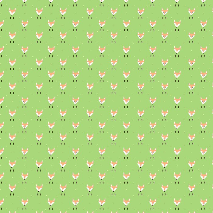 Cute Pattern With A Muzzle And Paws Foxes Flowers Vinyl Wallpaper