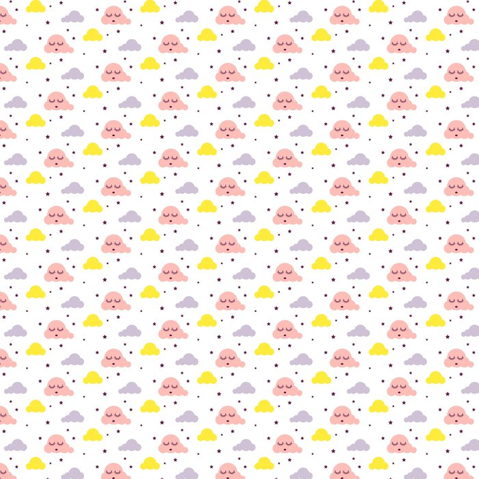 Sleepy Clouds Girlish Seamless Kid Vector Pattern Pink Yellow And White Background Cute