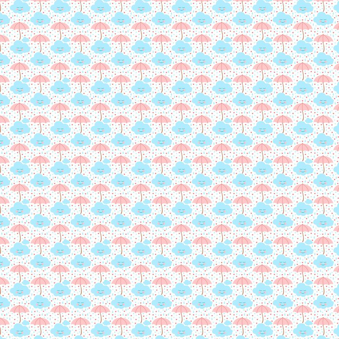 Seamless Pattern With Cloud Umbrella Rain Drops And Hearts Vinyl Wallpaper