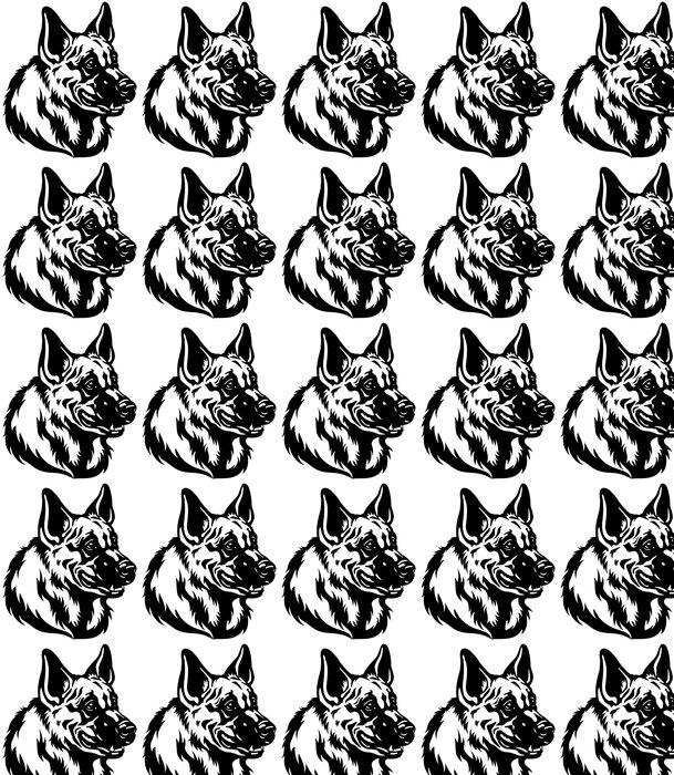 Vinylová Tapeta Německý ovčák hlava černá bílá - Savci