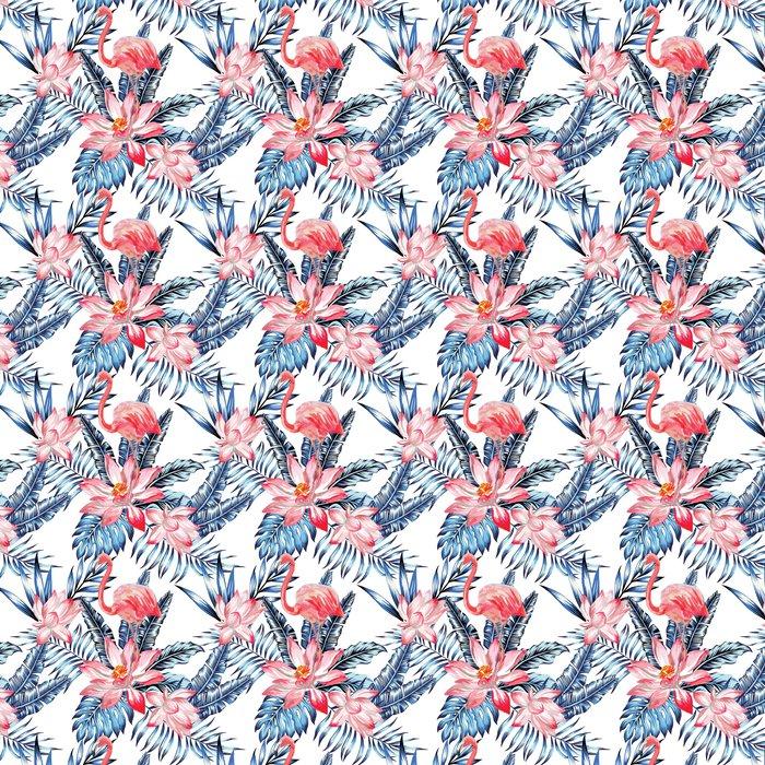 papier peint motifs flamant rose et motif de feuilles de palmier bleu pixers nous vivons. Black Bedroom Furniture Sets. Home Design Ideas