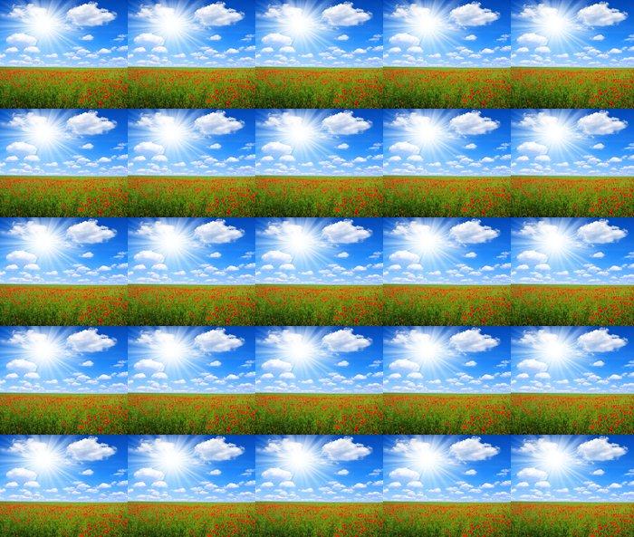 Vinylová Tapeta Červený mák pole s slunečné oblohy - Zemědělství