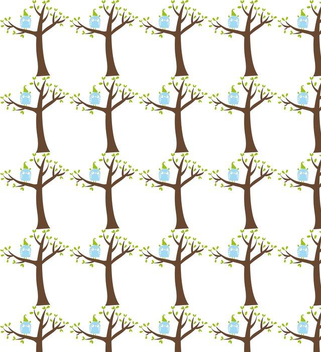 Vinylová Tapeta Gufo celeste sull'albero - Ptáci
