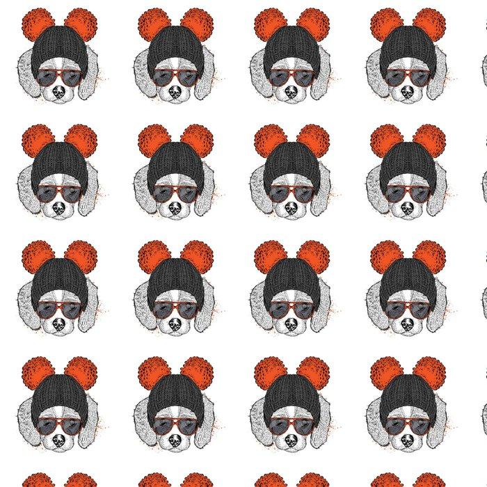 Vinylová Tapeta Roztomilé štěně na sobě klobouk a sluneční brýle. Ilustrace pro kartu nebo plakát. Vektorové ilustrace. Pes. - Zvířata