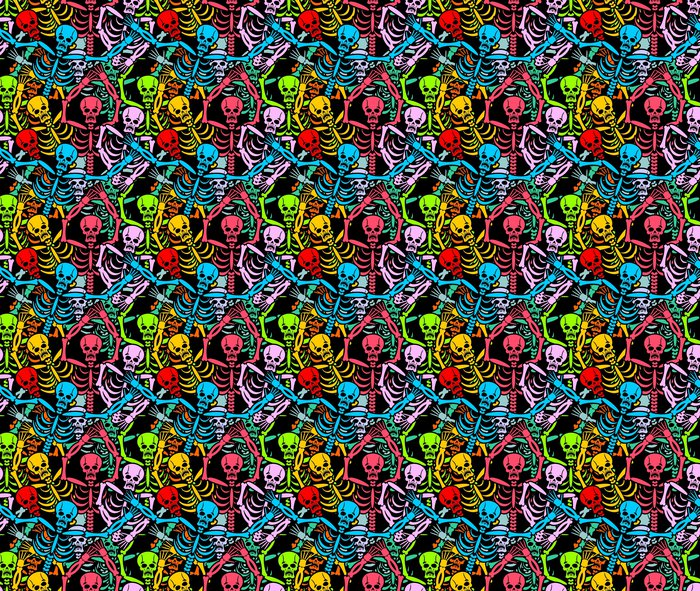 Day Of The Dead Skeletons And Sombrero Multi Colored Skull In M Vinyl Wallpaper