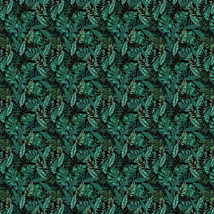 Saumaton graafinen taiteellinen trooppinen luonto viidakon kuvio, moderni tyylikäs lehtien tausta allover tulostaa split lehtiä, philodendron, palmu lehti, fern frond Itsestäänkiinnittyvä tapetti - Graafiset Resurssit