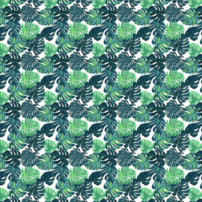 Vektori saumaton malli vihreällä monstera palmu lehdet tummalla pohjalla. kesän trooppinen kangas. Itsestäänkiinnittyvä tapetti - Graafiset Resurssit