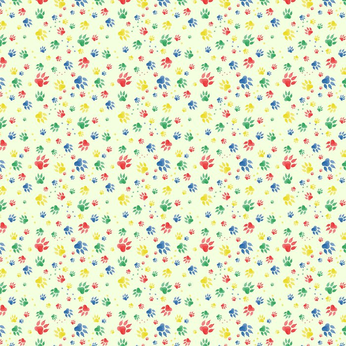 Seamless Pattern Of Dog Paw Marks Colorful Traces Paws Made In Watercolor