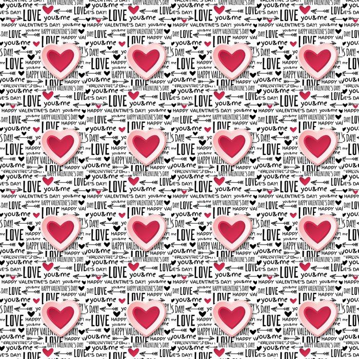 Vinylová Tapeta Pozadí s červenou valentine srdce a přání textu, vektoru - Mezinárodní svátky