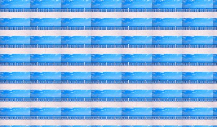 Vinylová Tapeta Terasa s balustrádou s výhledem na moře - Prázdniny