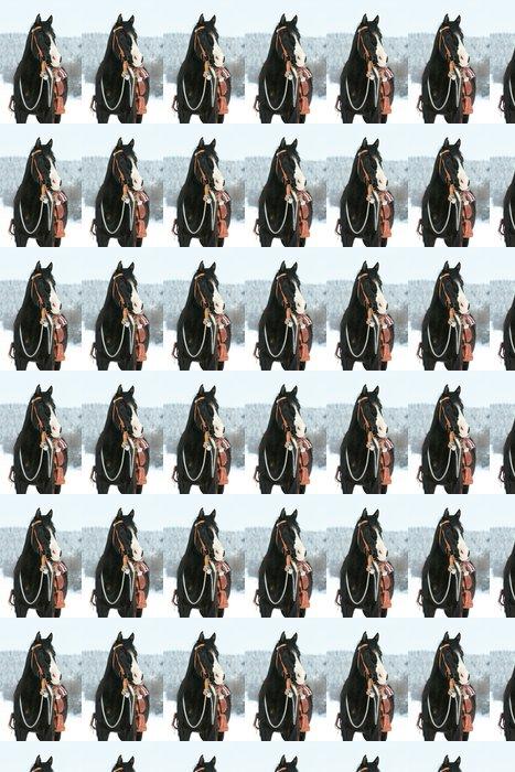Vinylová Tapeta Pěkná barva koně s koněm zařízení v zimě - Savci