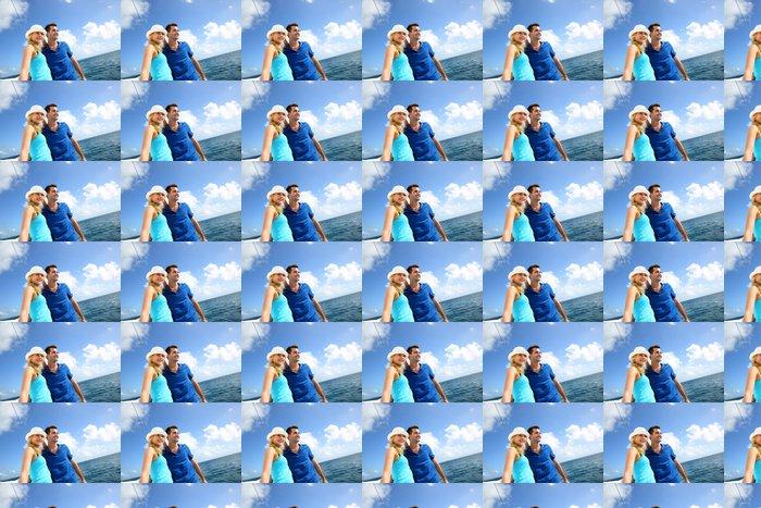 Vinylová Tapeta S úsměvem bohatý mladý pár na plachetnici v karibském moři - Vodní sporty