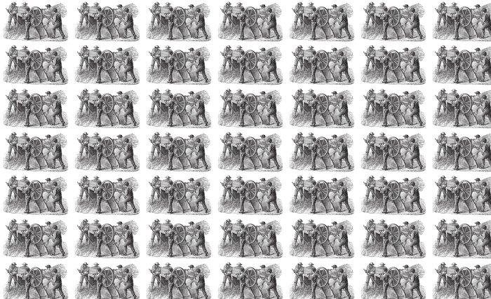 Vinylová Tapeta Pět lidí, kteří používají mlátičce také známý jako mlácení mac - Zemědělství
