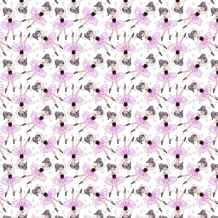 Vinylová Tapeta Roztomilé taneční balerína dívky v růžové tutus. vektorové bezproblémové vzoru pro dětské a dětské tapety, textilní, plakáty a oděvy. malé holčičky v baletních šatech. - Životní styl
